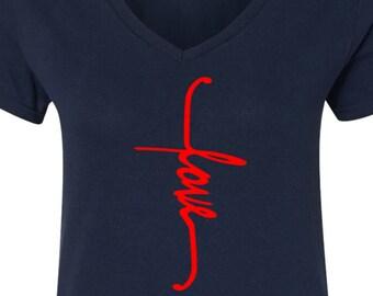 Cross Love T-Shirt, Christian Tee, God T Shirt, Christian V Neck, Religious Shirt, Jesus Tee, Believer Tee, Love V Neck, Cross V Neck
