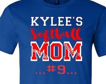 Custom Mom T Shirts, TShirts for Softball, Player Mom TShirts, Softball Tees, Shirts for Softball, Soft Softball Tees, Softball Mom Tees,