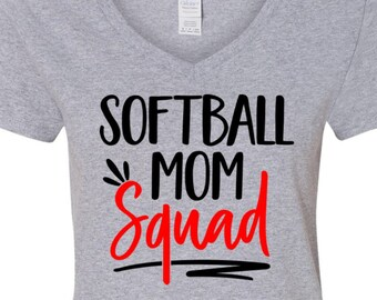 Softball Squad Mom, Softball Shirt, Moms Softball Shirt, Tee for Softball Mom Softball Tee Moms Softball V Neck, Softball Tee Gift, Moms Tee