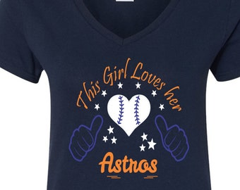Astros Baseball Tee V Neck Tee Sports Team Tee Baseball T Shirt Astros Fan Tee Astros Shirt, Her Astros Tee, Shirt for Her, Astros Tee Shirt
