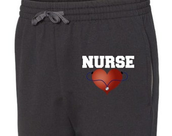 Nurses Sweatpants, Heart, Stethoscope, Nurse Sweats, Nursing, Sweats, Sweatpants, Nurse Gift Ideas, Nurse Appreciation, Registered Nurse