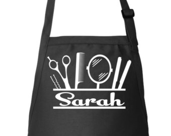 Hairdresser Apron, Stylist Name Apron, Hair Stylist Gift ,Personalized Apron, Adjustable Apron, Beautician Apron, Apron With Pockets