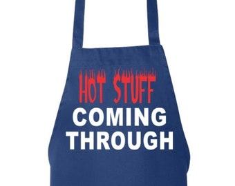 Funny Dad Apron, Hot Stuff Coming Through Grilling, Man Aprons, Mens Grilling Apron, BBQ Apron, Cooking Apron, Mens BBQ Apron, Gift for Dad