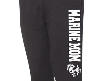 Marine Mom Sweatpants, Military Pants, Black Pants, Workout Pants, Sweats, Casual Pants, Mom Gift, Gift for Her, Marine Mom, Joggers Sweats