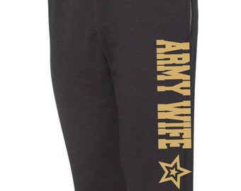 Army Wife Sweatpants Military Sweats Black Joggers Workout Pants Sweats Wife Gift Gift for Her Army Wife Marines Wife Deployment Gift Wifey