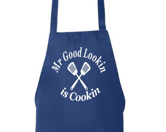 Funny Dad Apron, Mr Good Lookin is Cooking Grilling, Mens Aprons, Mens Grilling Apron, BBQ Apron, Cooking Apron, Mens BBQ Apron Gift for Dad