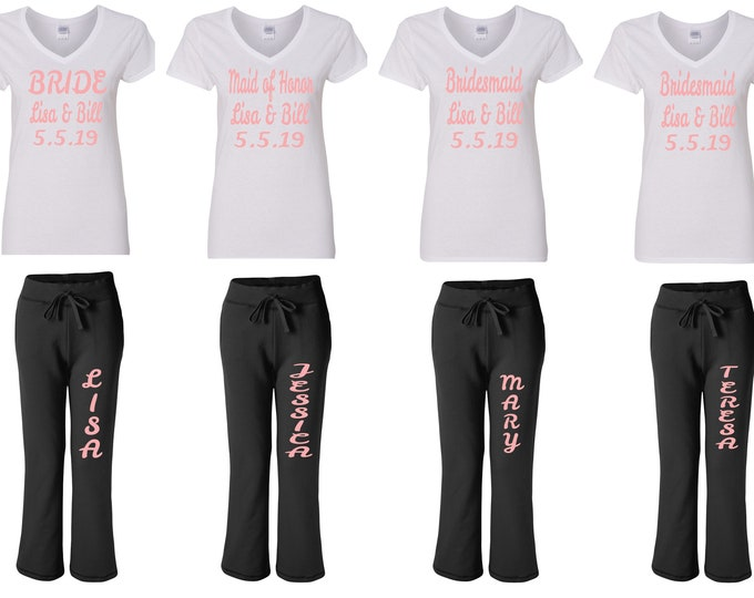 Featured listing image: Bridal Party Clothes,  Wedding Party, Bridesmaids, Bride Pants, Weddings Bride Sweats Maid of Honor Sweats, Custom Sweatpants, Bachelorette