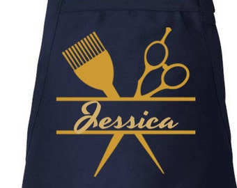 Stylist Name Apron Hairdresser Apron Hair Stylist Gift Personalized Apron Adjustable Apron, Beautician, Utility Apron, Apron With Pockets