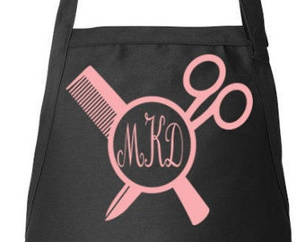 Stylist Name Apron, Hairdresser Apron, Hair Stylist Gift, Personalized Apron, Adjustable Apron, Monogram, Beautician, Apron With Pockets