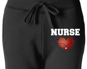 Nurse's Sweatpants with Heart Stethoscope Nurse Sweats Comfy Pants Sweats, Sweatpants Nurse Gift Ideas, Nurse Appreciation, Registered Nurse