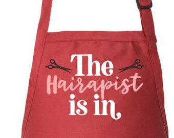 Stylist Apron, Hairdresser Apron, Hair Stylist Gift, Beautician Apron Adjustable Apron The Hairapist Is In Utility Apron, Apron With Pockets
