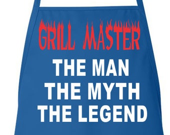 Funny Dad Apron Grill Master The Man The Myth The Legend Man Aprons, Mens Grilling Apron BBQ Apron Cooking Apron Mens BBQ Apron Gift for Dad