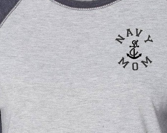 Custom Navy Mom Womens Baseball Tee Proud Navy Mom Navy Mom T Shirts Navy Mom Gifts Gift for Her Gift Ideas for Mom TShirts for Mom Mom Tee