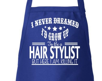 Stylist Apron, Hairdresser Apron, Hair Stylist Gift, Beautician Apron, Adjustable Apron, Apron With Pockets, Beauty School Grad