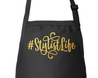 Stylist Apron, Hairdresser Apron, Hair Stylist Gift, Beautician Apron, Adjustable Apron, #StylistLife, Utility Apron, Apron With Pockets