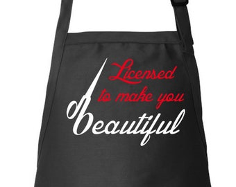 Hairdresser Apron, Licensed To Make, You Beautiful, Stylist Apron, Hair Stylist Gift, Beautician Apron, Adjustable Apron, Apron With Pockets