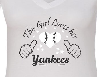 Yankees, V Neck Tee, Sports Team Tee, Baseball T Shirt, Yankees Fan Tee, Yankees Shirt, Her Yankees Tee, Shirt for Her, New Yorker Shirt