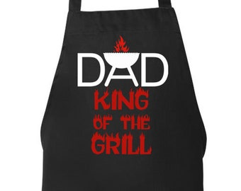 Funny Dad Apron, Dad King of the Grill, Grilling, Mens Aprons, Mens Grilling Apron, BBQ Apron, Cooking Apron Mens BBQ Apron Gift for Dad