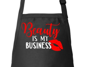Beautician Apron Stylist Apron Hairdresser Apron Hair Stylist Gift, Adjustable Apron Beauty Is My Business Utility Apron, Apron With Pockets