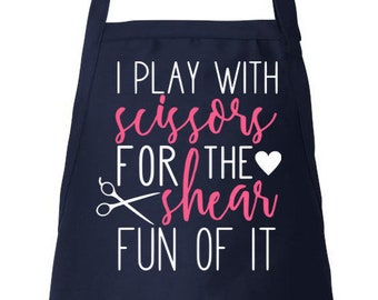 Hairdresser Apron Stylist Apron Hair Stylist Gift, Beautician Apron, Adjustable Apron I Play With Scissors Utility Apron, Apron With Pockets