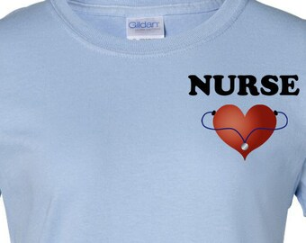 Nurse Shirt Heart Stethoscope Tee with Heart Nursing Shirt Nurse Appreciation Nursing Student Nurse Nurse Gift Ideas Nurse Registered Nurse