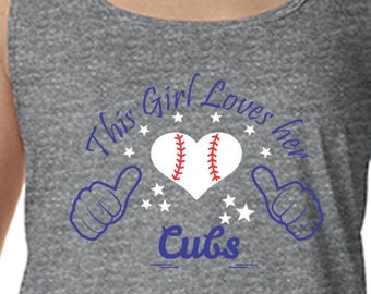 Cubs, Racerback Tank Top, Sports Team Tee, Baseball T Shirt, Cubs Fan Tee, Cubs Shirt Her Cubs Tee Shirt for Her Chicago Shirt Cubs Tank Top