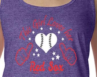 Red Sox, Racerback Tank Top, Sports Team Tee, Baseball T Shirt, Boston Fan Tee, Red Sox Shirt, Her Red Sox Tee, Shirt for Her, Boston Shirt