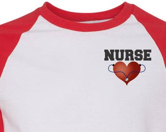 Nurses Baseball Tee with Heart Stethoscope Nurse Raglan Nurses Shirt Nurse Gift Ideas Shirts for Nurses Nurse Gift Nursing Student Her Gift
