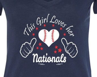 Nationals Baseball Tee V Neck Tee, Sports Team Tee, Baseball T Shirt, Washington Fan Tee, Nationals Shirt, Her Nationals Tee, Shirt for Her