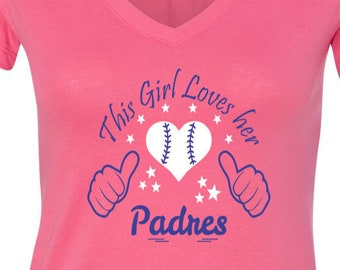 Padres Baseball Tee V Neck Tee Sports Team Tee Baseball T Shirt San Diego Fan Tee Padres Shirt Her Padres Tee Shirt for Her Padres Tee Shirt