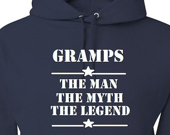 Gramps The Man The Myth The Legend Hoodie With Designs Fathers Day Gift Birthday Gift Gift for Gramps Gift for Him Gift for Dad Grandpa Gift