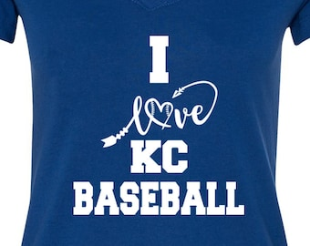 KC, V Neck Tee, Sports Team Tee, Baseball T Shirt, Royals Fan Tee, Kansas City Shirt, Her Royals Tee, Shirt for Her, Kansas City Tee Shirt