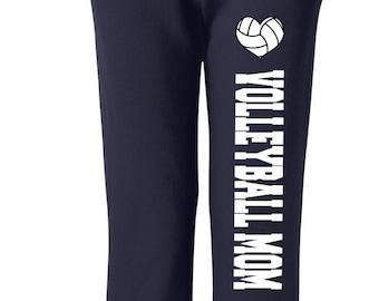 Volleyball Mom, Black, Sweatspants, Custom Sweatpants, Volleyball Sweatpants, Moms Volleyball Pants Sweats, Womens Sweatpants, Gift for Wife