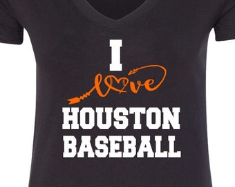 Houston Baseball V Neck Tee Sports Team Tee Baseball T Shirt Houston Fan Tee Houston Shirt Her Astros Tee Shirt for Her Houston Tee Shirt
