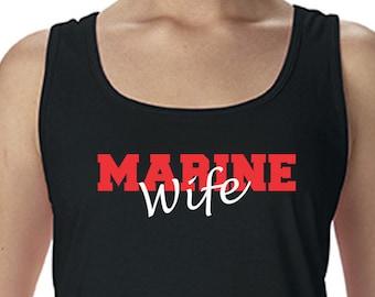 Custom Marine Wife Racerback Tank Military Shirt Marine Wife Shirt ,Proud Marine Wife ,T Shirt for Marine, Gift for Her, Marine Wife Tee