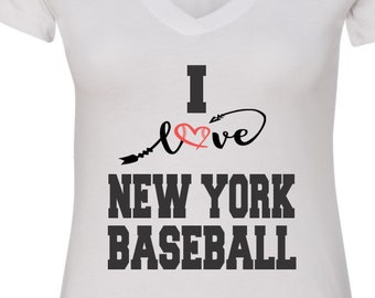 New York Baseball V Neck Tee Sports Team Tee Baseball T Shirt New York Fan Tee New York Shirt Her Yankees Tee Shirt for Her New Yorker Shirt