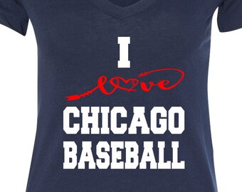 Chicago Baseball V Neck Tee Sports Team Tee Baseball T Shirt Chicago Fan Tee Chicago Shirt Her Cubs Tee, Tee Shirt for Her Chicago Tee Shirt