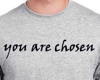 Religious Christian Tee Shirt You are Chosen God Shirt  Gray Shirt Illustrated Faith Christian Clothing Faith Shirt Jesus T Shirt God Shirt