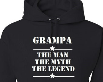 Funny Grampa Hoodie Grandpa The Man The Myth The Legend Black Hoodie His Birthday Gift Father's Day Gift Present for Him Papa Hoodie