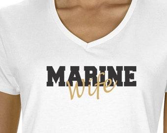 Custom Marine Wife V Neck Tee Military Shirt Marine Wife Shirt ,Proud Marine Wife ,T Shirt for Marine, Gift for Her, Marine Wife Tee