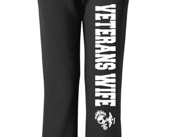 Veterans Wife Sweats Military Sweats Black Pants Workout Pants Sweats Wife Gift Gift for Her Marine Vets Wife Navy Wife Veterans Wife Wifey