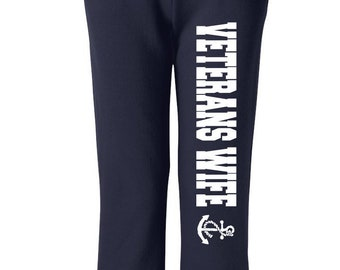 Veterans Wife Sweats Military Sweats Black Pants Workout Pants Sweats Wife Gift Gift for Her Navy Vets Wife Veterans Wife Airforce Wife