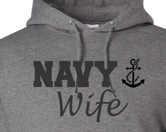 Navy Hoodie Navy Sweatshirt Gift For Wife Deployment Gift Military Clothing Military Hoodie Armed Forces Apparel Wifey Gift Present for Mom
