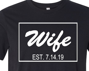 Hubs and Wife Tees, Established Shirts Valentines Day Tees Couples Tees Husband and Wife Tee Shirts About Love Wedding Tees His and Her Tees