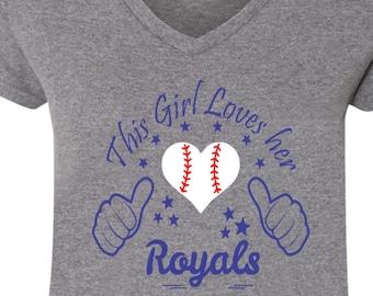 Royals Baseball Tee V Neck Tee, Sports Team Tee, Baseball T Shirt Royals Fan Tee, Royals Shirt Her Royals Tee Shirt for Her Royals Tee Shirt