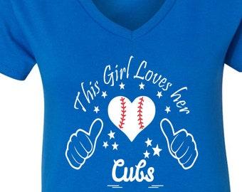 Cubs Baseball Tee, V Neck Tee, Sports Team Tee, Baseball T Shirt, Cubbys Fan Tee, Cubs Shirt, Her Cubs Tee, Shirt for Her, Cubbys Tee Shirt