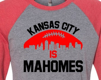 Mahomes Raglan, KC Football, Football Raglan, Chiefs, Patrick Tee Shirt, Mahomes Football, KC Fan, Chiefs Football, Kansas City Tee, Mahomes