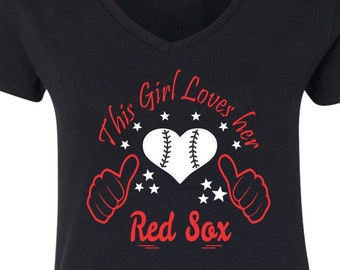 Red Sox Baseball Tee V Neck Tee Sports Team Tee, Baseball T Shirt Sox Fan Tee, Red Sox Shirt, Her Red Sox Tee, Shirt for Her Red Sox T Shirt