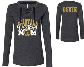Custom Personalized Glitter Wrestling Mom Women/'s Lightweight Long Sleeve Hooded T-Shirt Amazing Spirit Wear Wrestler Mother