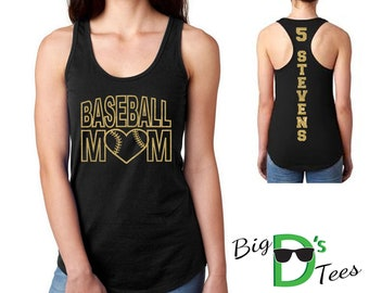 Custom Personalized Glitter Baseball Mom Women's Ideal Racerback Tank Top Amazing Spirit Wear Let's Play Ball